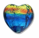 Silver Foil Glass Rainbow Heart Bead 20x20mm (1PC)