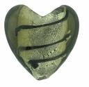 Silver Foil Glass Black Diamond Heart Beads 20x20mm (1PC)