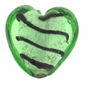 Silver Foil Glass Lt. Green Heart Beads 20x20mm (1PC)