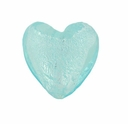 Silver Foil Glass Aqua Small Heart Beads 15x15mm (5PK)