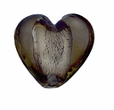 Silver Foil Glass Black Diamond Small Heart Beads 15x15mm (5PK)