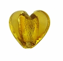 Silver Foil Glass Topaz Small Heart Beads 15x15mm (5PK)