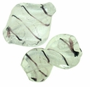 Silver Foil Glass Crystal Leaf Beads 16x20mm (5PK)