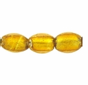 Silver Foil Glass Topaz Oval Beads 10x14mm (5PK)