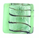 Silver Foil Glass Lt. Green Square Beads 15x15mm (5PK)
