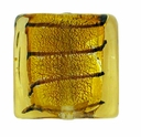 Silver Foil Glass Topaz Square Beads 15x15mm (5PK)