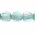 Silver Foil Glass Aqua Round Beads 10mm (10PK)
