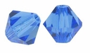 Sapphire  4mm Faceted Bicone Crystal Beads 16 Inch Strand