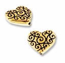 Antique Gold Heart Scroll Bead