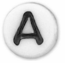 White Glass Czech Letter A (10PK)