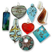 Mixed Lampwork Glass Pendants (3PK)