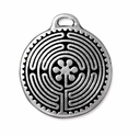 Antique Silver 26mm Labyrinth Pendant