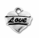 Antique Silver Love Heart Charm