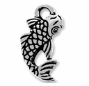 Antique Silver Koi Charm