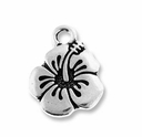Antique Silver Hibiscus Charm