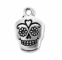 Antique Silver Sugar Skull Charm