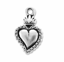 Antique Silver Sacred Heart Milagro Charm