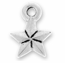 Antique Silver Faceted Star Charm