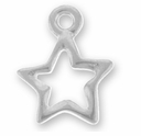 Antique Silver Open Star Charm