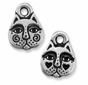 Antique Silver Kitty Face Charm