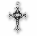 Antique Silver Fleur Cross Charm
