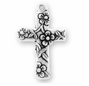 Antique Silver Floral Cross Charm