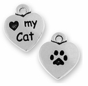 Antique Silver Love My Cat Charm