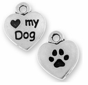 Antique Silver Love My Dog Charm