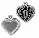 Antiqued Silver Victorian Heart Frame Charm