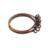 Antiqued Copper 17mm Adjustable Ring (1PC)