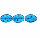 Lt. Blue Puffed Oval 10x14mm Millefiori Beads (1 Strand)