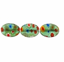 Green Puffed Oval 10x14mm Millefiori Beads (1 Strand)