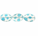 Clear w/Blue Puffed Oval 10x14mm Millefiori Beads (1 Strand)