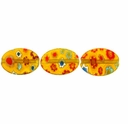 Yellow multi color Puffed Oval 10x14mm Millefiori Beads (1 Strand)
