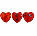 Red Puffed Heart 12x12mm Millefiori Beads (1 Strand)