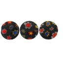 Black Puffed Button 10x10mm Millefiori Beads (1 Strand)