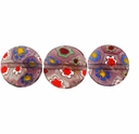 Purple Puffed Button 10x10mm Millefiori Beads (1 Strand)