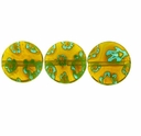 Yellow w/Green Puffed Button 10x10mm Millefiori Beads (1 Strand)