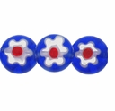Royal Blue Glass Millefiori 8mm Flat Round Beads 16-Inch Strand