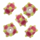 13mm White w/Pink Lime Raised Design Rondel Lampwork Beads (5PK)