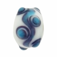 13mm White w/Blue Black Raised Design Rondel Lampwork Beads (5PK)