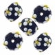 13mm Black w/White Flower Raised Design Rondel Lampwork Beads (5PK)