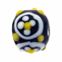 13mm Black w/White Daisy Raised Design Rondel Lampwork Beads (5PK)
