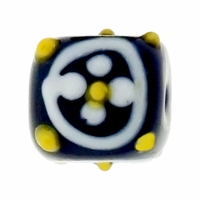 14mm Black with White Flower Design Design Square Lampwork Beads (5PK)