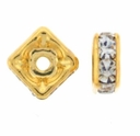 6mm Crystal Gold Plated Squaredelle (5PK)