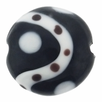 20mm Black with Modern Design Disc Lampwork Beads (5PK)