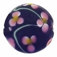 20mm Black with Floral Design Disc Lampwork Beads (5PK)