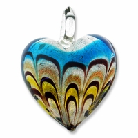 Murano Glass Blue Lampwork 36mm Silver Foil Heart Pendant