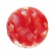 14mm Red/White Ribbon Round Lampwork Glass Beads ( 1 Strand)