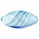 Hand Blown 12x25mm Oval Glass  Clear with Blue Swirl (1PC)